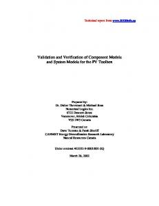 Validation and Verification of Component Models ... - RER Energy Inc