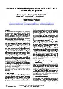 Validation of a Battery Management System based on AUTOSAR via ...