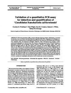 Validation of a quantitative PCR assay for detection and quantification ...