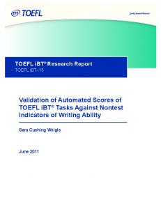 Validation of Automated Scores of TOEFL iBT® Tasks Against ... - ETS