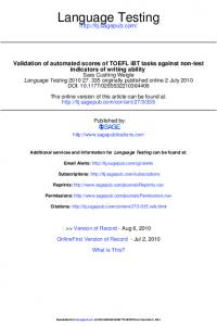 Validation of automated scores of TOEFL iBT tasks against non-test