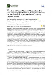 Validation of Dietary Vitamin D Intake from Two Food ... - MDPI