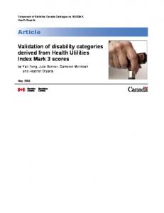 Validation of disability categories derived from Health ... - CiteSeerX