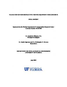VALIDATION OF NONDESTRUCTIVE TESTING EQUIPMENT FOR ...