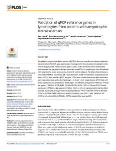Validation of qPCR reference genes in lymphocytes from ... - PLOS