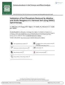 Validation of Soil Phosphate Removal by Alkaline and ...