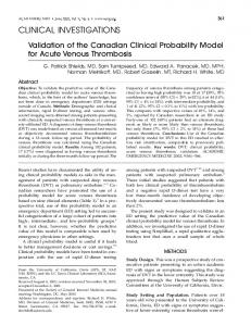 Validation of the Canadian Clinical Probability ... - Wiley Online Library