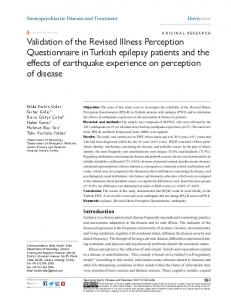 Validation of the revised illness Perception Questionnaire in Turkish ...