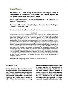 Validation of Three Body Composition Techniques with a Comparison ...