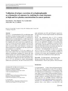 Validation of urinary excretion of cyclophosphamide as ... - Springer Link