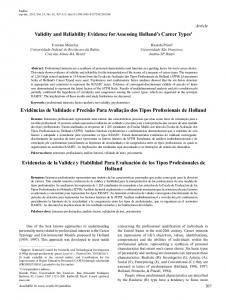 Validity and Reliability Evidence for Assessing Holland's ... - SciELO