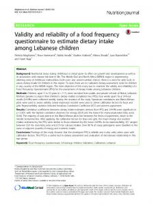 Validity and reliability of a food frequency questionnaire to ... - CiteSeerX