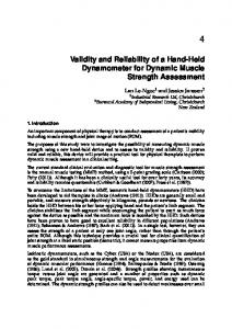 Validity and Reliability of a Hand-Held Dynamometer - Semantic Scholar