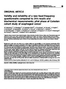 Validity and reliability of a new food frequency questionnaire ... - Nature