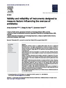 Validity and reliability of instruments designed to measure factors ...