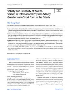 Validity and Reliability of Korean Version of International Physical ...