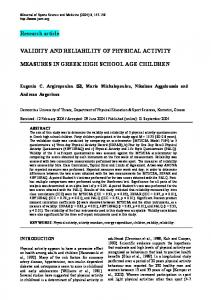 VALIDITY AND RELIABILITY OF PHYSICAL ACTIVITY MEASURES IN ...