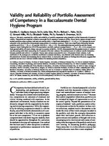 Validity and Reliability of Portfolio Assessment of Competency in a ...