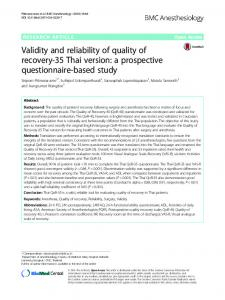 Validity and reliability of quality of recovery-35 Thai version: a ...