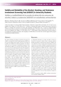 Validity and Reliability of the Alcohol, Smoking ... - Semantic Scholar