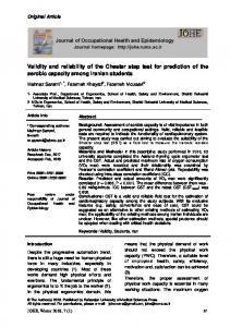 Validity and reliability of the Chester step test for prediction of the ...