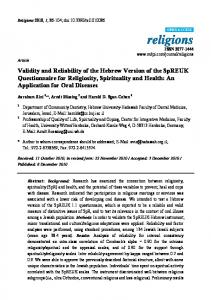 Validity and Reliability of the Hebrew Version of ... - Semantic Scholar