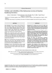 Validity and reliability of the Indonesian version of ... - Semantic Scholar