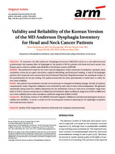 Validity and Reliability of the Korean Version of the ... - Semantic Scholar