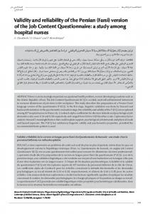 Validity and reliability of the Persian (Farsi)