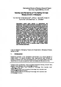 Validity and Reliability of The Safety Climate ... - Semantic Scholar