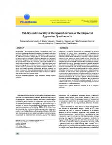 Validity and reliability of the Spanish version of the ... - Psicothema
