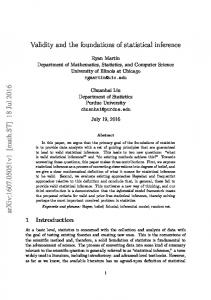 Validity and the foundations of statistical inference