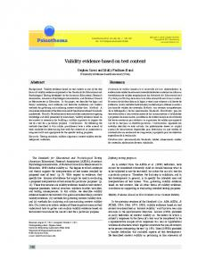 Validity evidence based on test content - Psicothema