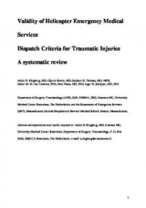 Validity of Helicopter Emergency Medical Services Dispatch Criteria ...