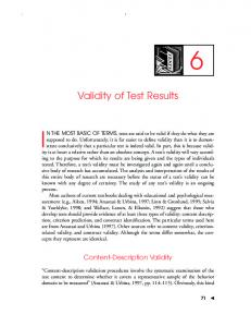 Validity of Test Results