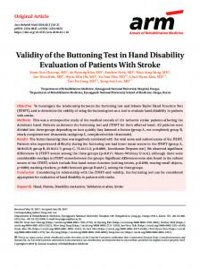 Validity of the Buttoning Test in Hand Disability