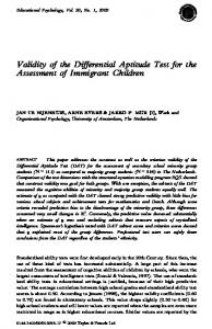 Validity of the Differential Aptitude Test for the