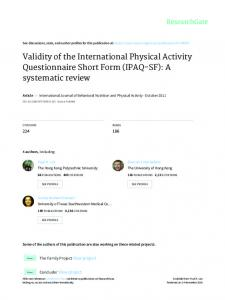Validity of the International Physical Activity