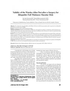 Validity of the Watzke-Allen Test after a Surgery for ... - ThaiScience