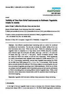 Validity of Two New Brief Instruments to Estimate Vegetable ... - MDPI
