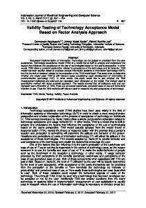 Validity Testing of Technology Acceptance Model