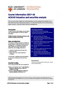 Valuation and securities analysis - University of London ...