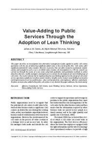 Value-Adding to Public Services Through the