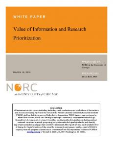 Value of Information and Research Prioritization - pcori