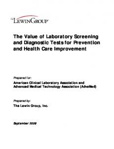 Value of Laboratory Screening and Diagnostic Tests - California ...