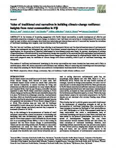 Value of traditional oral narratives in building climate-change resilience