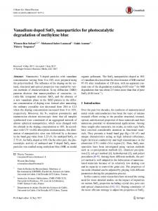 Vanadium doped SnO2 nanoparticles for photocatalytic degradation of