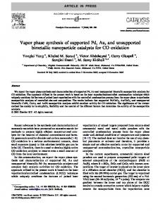 Vapor phase synthesis of supported Pd, Au, and unsupported ...