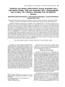 Variability and genetic differentiation among Anopheles (Ano ...
