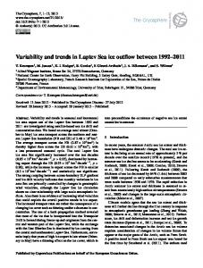 Variability and trends in Laptev Sea ice outflow ... - ePIC - AWI